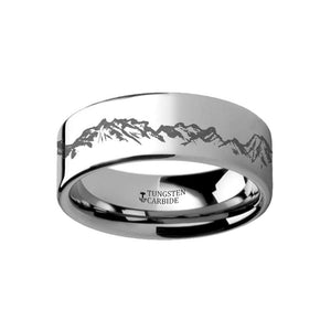 Outdoors Landscape Ring - Peaks Mountain Range - Laser Engraved Flat Tungsten Ring - 4mm - 6mm - 8mm - 10mm - 12mm - AydinsJewelry