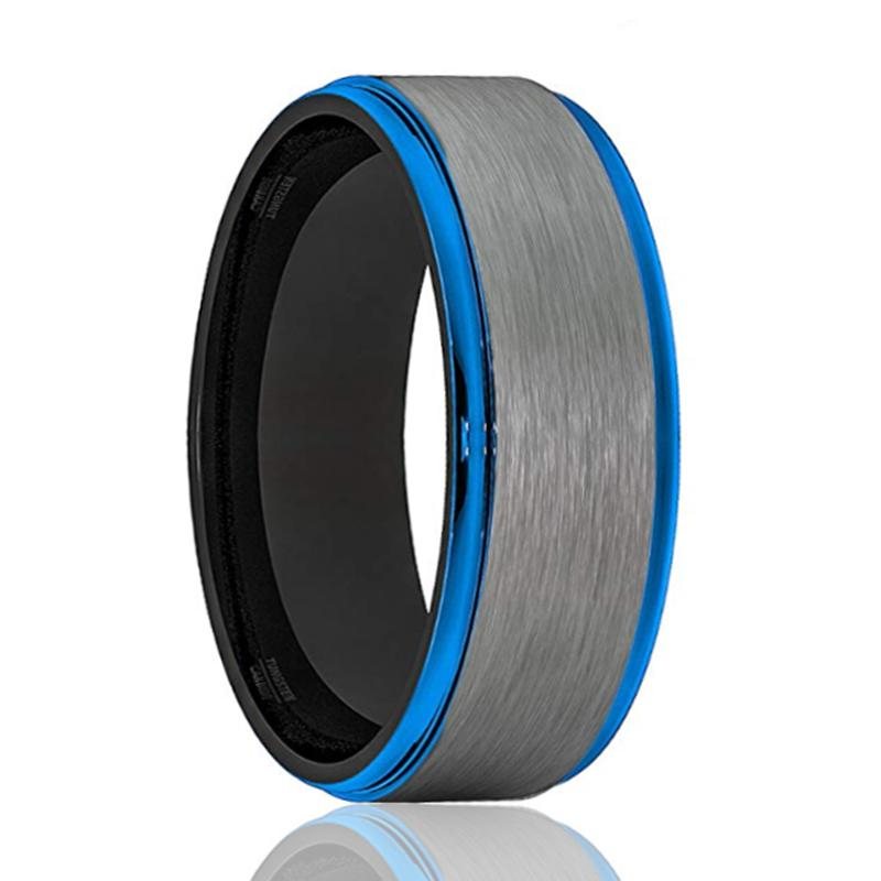 KNIGHT Men's Tungsten Wedding Band with Blue Step Edges & Gray Brushed Center - Rings - Aydins_Jewelry