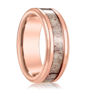 Dauer Rose Gold Tungsten Men's Wedding Band Deer Antler Inlay Beveled Edge - Rings - Aydins_Jewelry