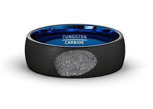 Finger Print Laser Engraved Mens Wedding Band Two Tone Black Blue Tungsten Ring Brushed Center Dome 8mm Comfort Fit - Rings - Aydins_Jewelry