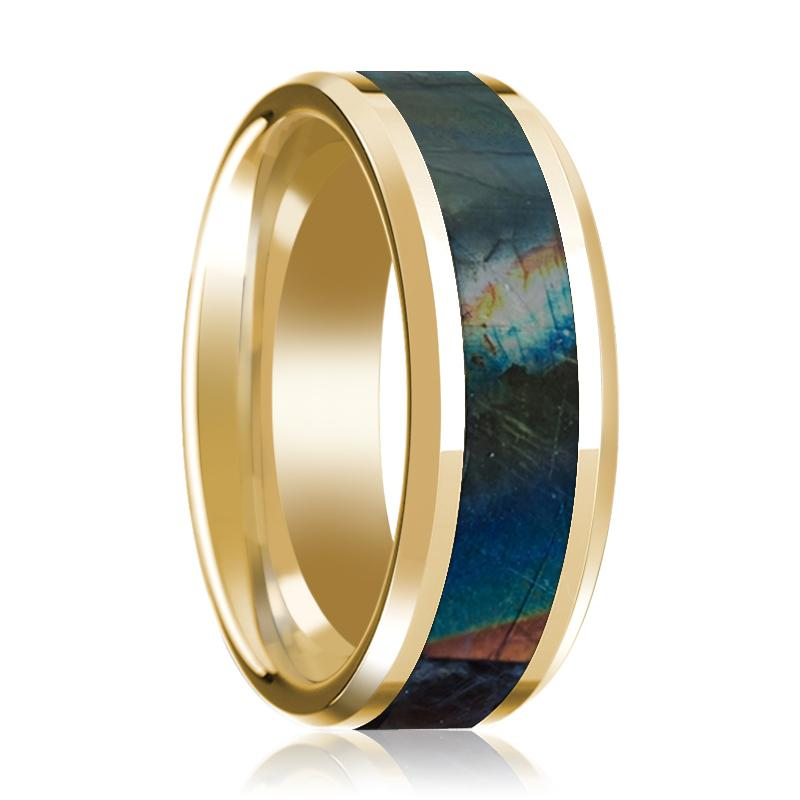 14K Yellow Gold Wedding Ring Inlaid with Spectrolite Beveled Edge Polished Design - Rings - Aydins_Jewelry