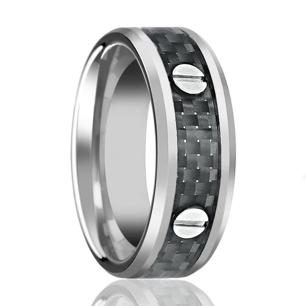 Aydins Tungsten Wedding Band Screw Accents w/ Black Carbon Fiber Inlay 8mm Tungsten Carbide Ring - AydinsJewelry