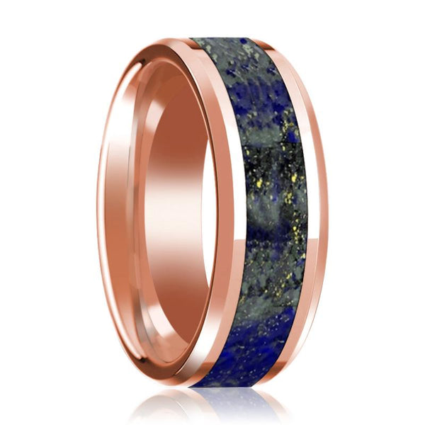 14K Rose Gold Lapis Inlay Beveled Edge Mens Wedding Band Polished Design - AydinsJewelry