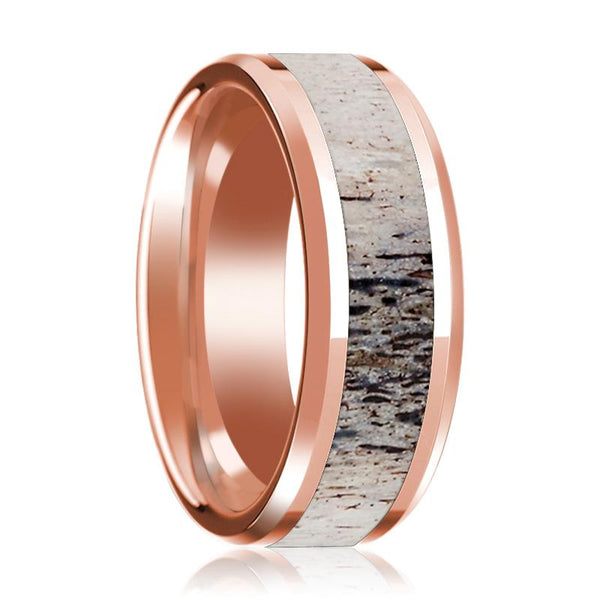 14K Rose Gold Wedding Ring Inlaid with Ombre Deer Beveled Edge and Polished - AydinsJewelry