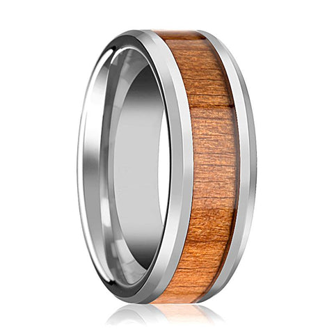 Image of Tungsten Wood Ring - Black Cherry Wood - Tungsten Wedding Band - Polished Finish - 6mm - 8mm - 10mm - Tungsten Wedding Ring - AydinsJewelry