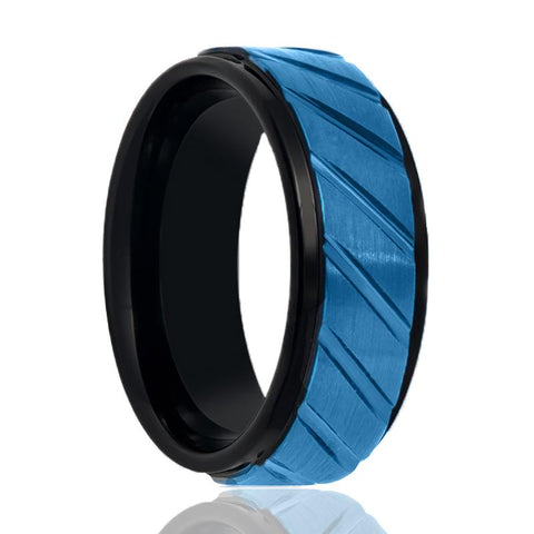 Image of Black Brushed Tungsten Wedding Ring for Men with Diagonal Grooves in Blue Center Step Edges - 8MM - Rings - Aydins_Jewelry