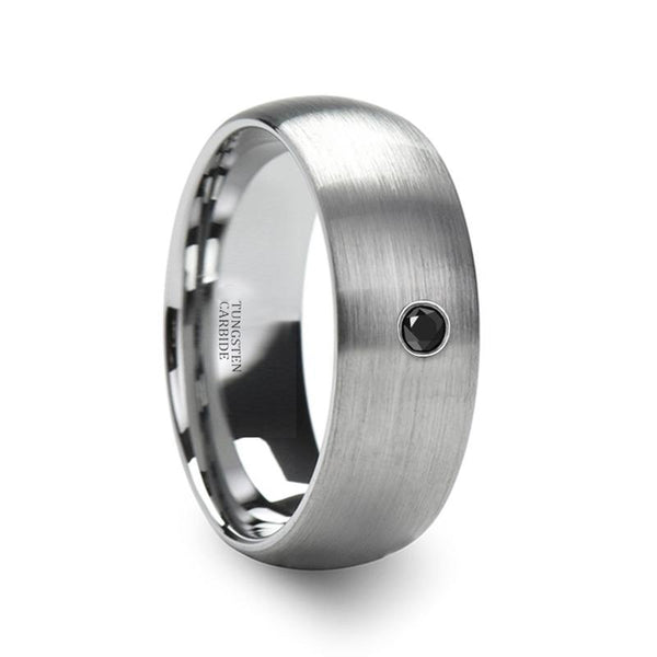 d77a1dceae8112 VAYU Domed Silver Brushed Men's Tungsten Wedding Band with Black Diamond in  Center - 6MM - 8MM