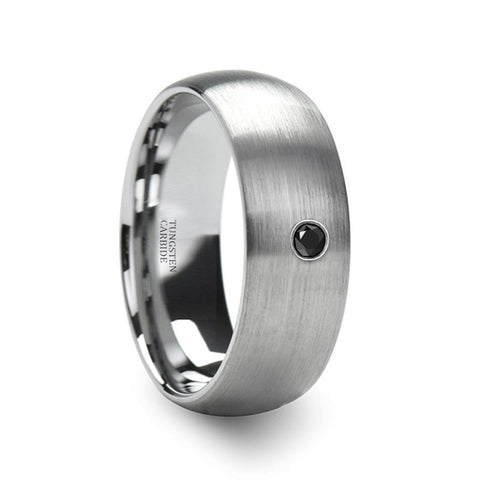 Image of Black Diamond Wedding Ring - Tungsten Ring - Silver Tungsten - Domed Brushed -  1 Diamond - Tungsten Wedding Band - 6mm - 8mm - AydinsJewelry