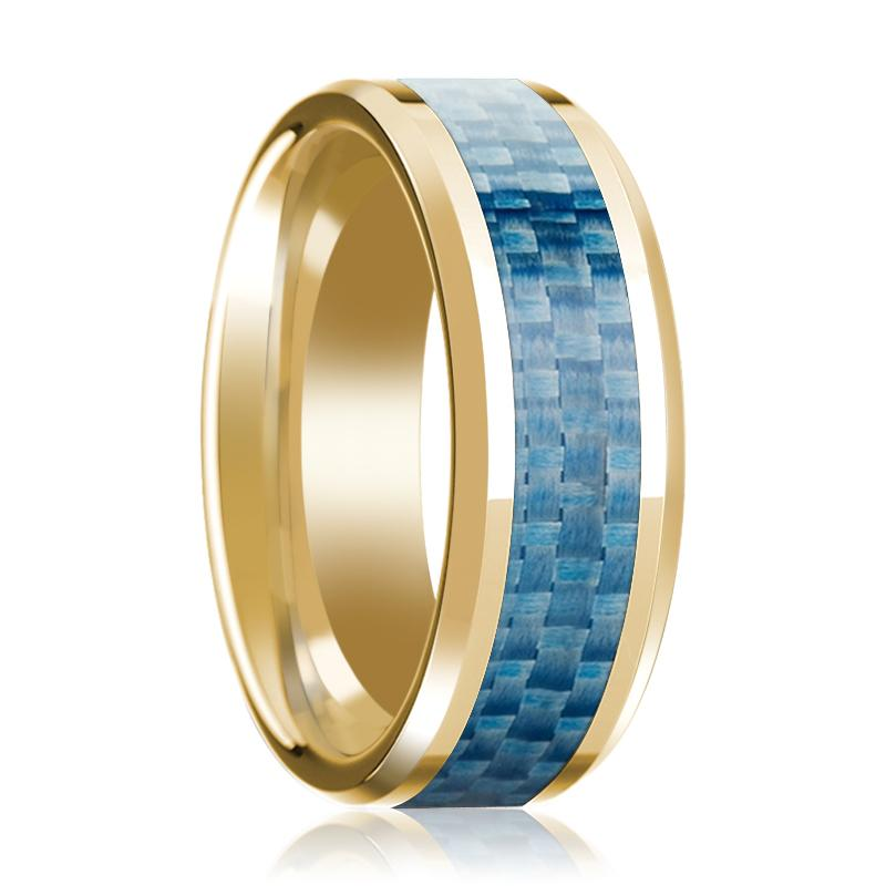 Beveled 14k Yellow Gold Wedding Band for Men with Blue Carbon Fiber Inlay & Polished Finish - 8MM - Rings - Aydins_Jewelry