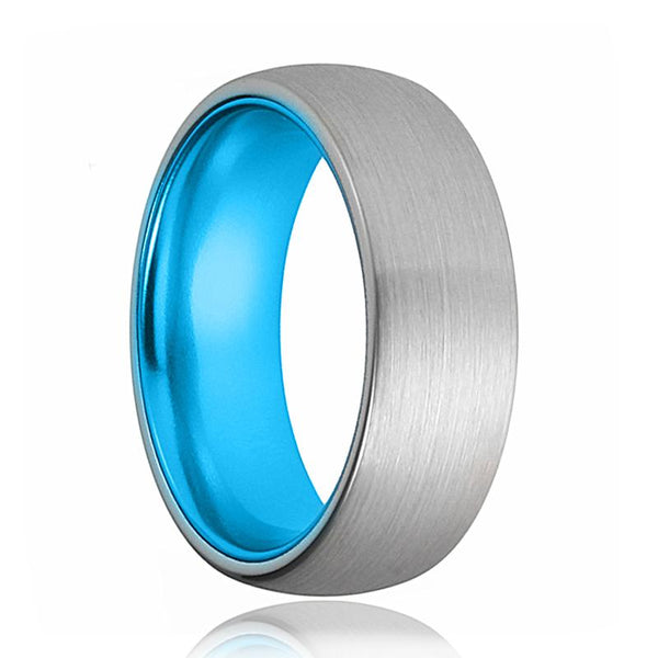 Tungsten Blue Ring - Men Wedding Band - Silver Tungsten Brushed - Aqua Blue Tungsten - Dome Ring - Tungsten Wedding Ring - Man Tungsten Ring - AydinsJewelry
