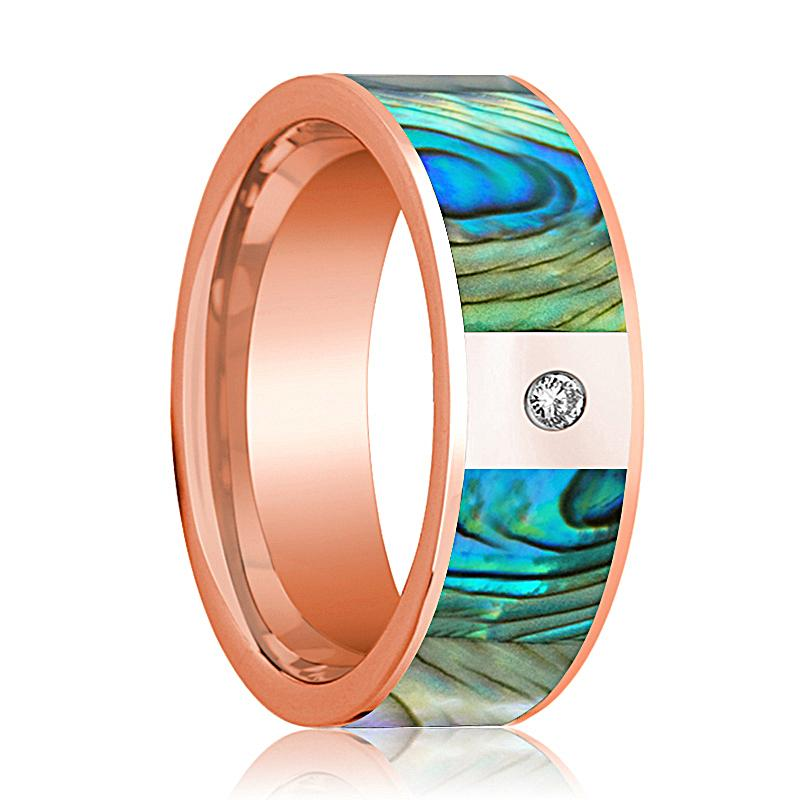 Mens Wedding Band 14K Rose Gold with Mother of Pearl Inlay and Diamond Flat Polished Design - AydinsJewelry