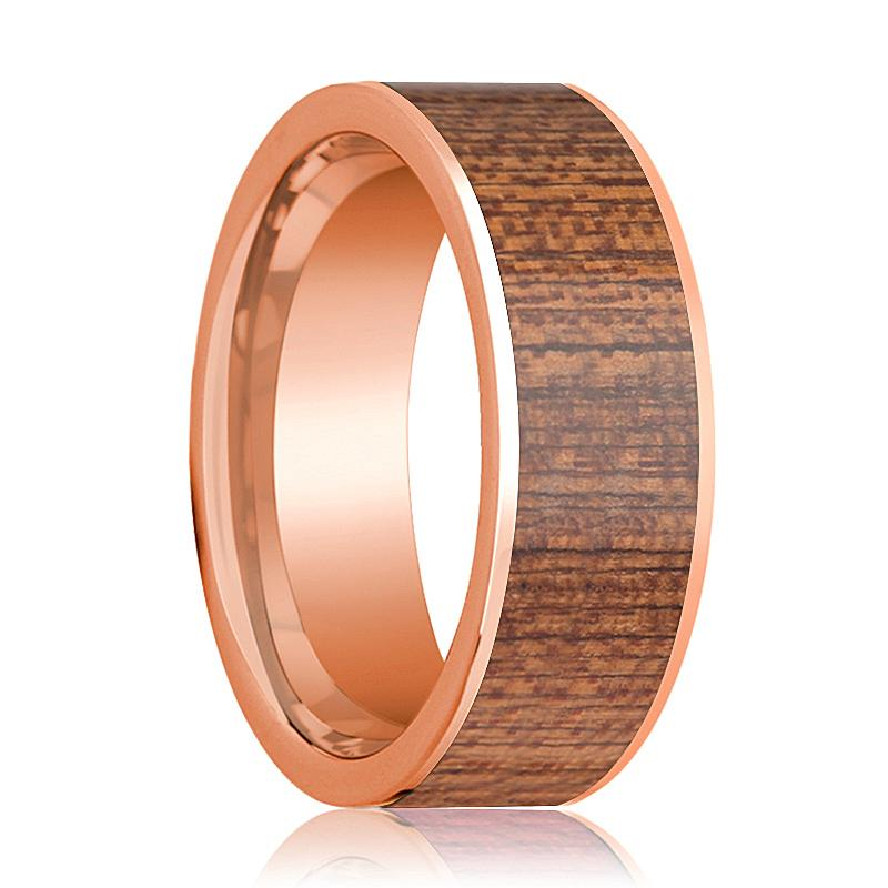 Flat 14k Rose Gold Wedding Band for Men with Sapele Wood Inlay - 8MM - Rings - Aydins_Jewelry