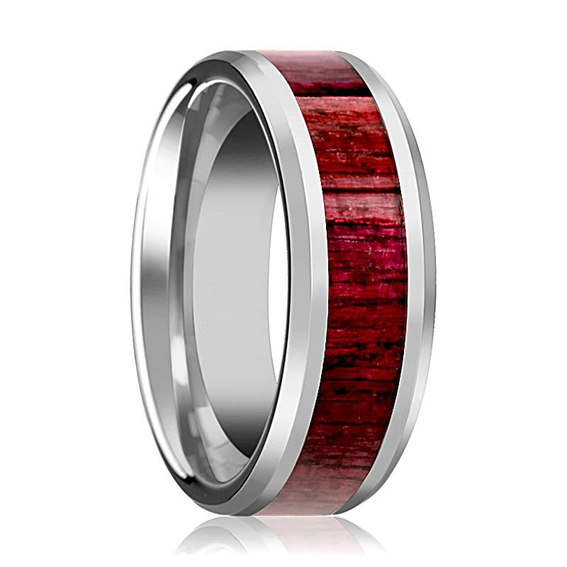 Tungsten Wood Ring - Purpleheart Wood Inlay - Tungsten Wedding Band - Polished Finish - 8mm - Tungsten Wedding Ring - AydinsJewelry