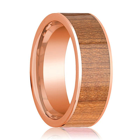 Image of Mens Wedding Band Polished Flat 14k Rose Gold Wedding Ring with Cherry Wood Inlay - 8mm - AydinsJewelry