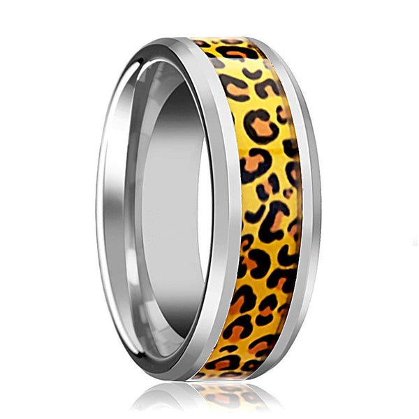 Tungsten Cheetah Print Animal Design Inlay - Tungsten Wedding Band - Beveled - Polished Finish - 6mm - 8mm - Tungsten Wedding Ring - AydinsJewelry