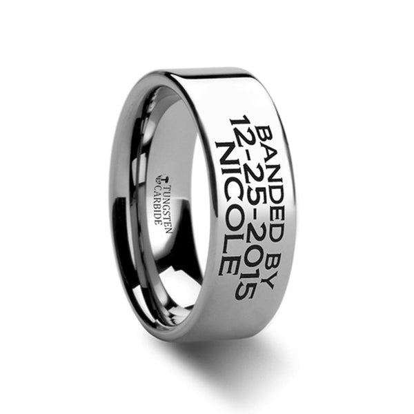 Duck Band Style Custom Engraved Flat Tungsten Memorial Ring for Men and Women - 4MM - 12MM - Rings - Aydins_Jewelry