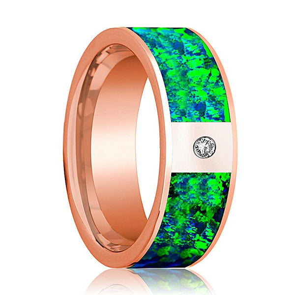 Mens Wedding Band 14K Rose Gold with Emerald Green and Sapphire Blue Opal Inlay and Diamond Flat Polished Design - AydinsJewelry