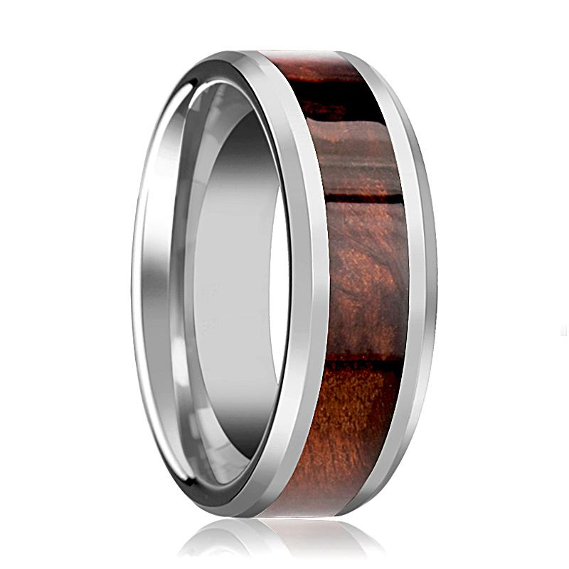 Beveled Tungsten Red Wood Inlay Wedding Ring for Men's Polished FInish - Rings - Aydins_Jewelry