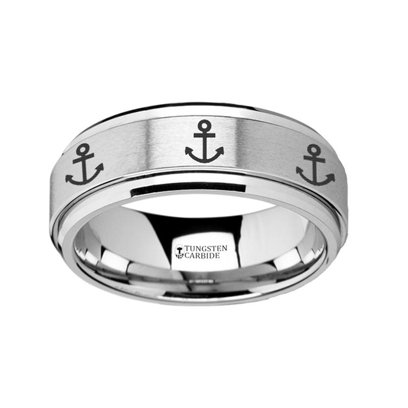 Anchor Engraved Men's Tungsten Carbide Spinner Ring with Bevels - 8MM - Rings - Aydins_Jewelry