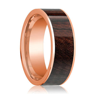 Mens Wedding Band Polished Flat 14k Rose Gold Wedding Ring with Bubinga Wood Inlay - 8mm - AydinsJewelry