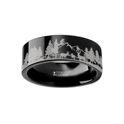 Image of Animal Landscape Scene Reindeer Deer Stag Mountain Range Ring Engraved Flat Tungsten Ring - 4mm - 12mm - Rings - Aydins_Jewelry