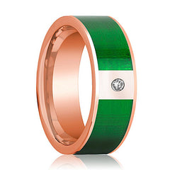 Mens Wedding Band 14K Rose Gold with Textured Green Inlay and Diamond Flat Polished Design - AydinsJewelry