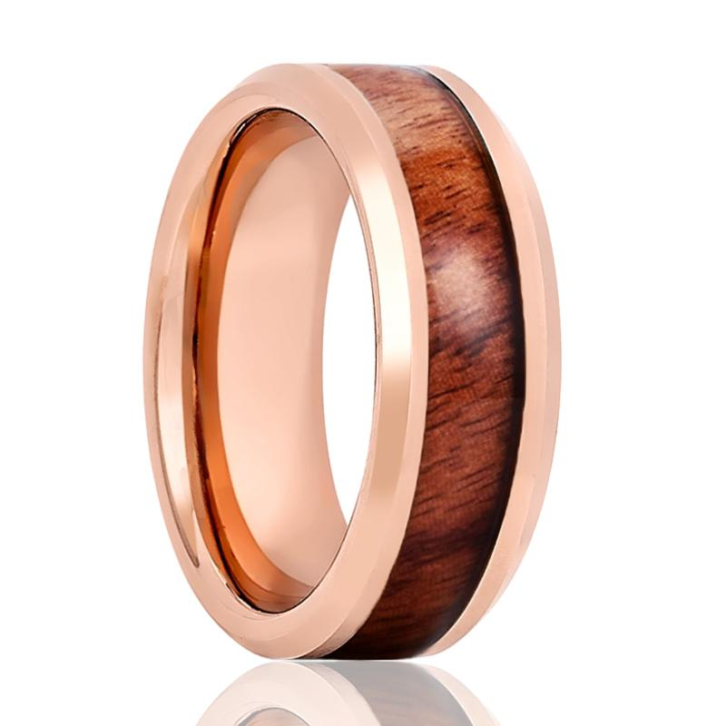 Beveled Rose Gold Tungsten Men's Engagement Ring with Hawaiian Koa Wood Inlay Polished Finish - 8MM - Rings - Aydins_Jewelry