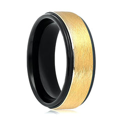 Aydins Gold & Black Tungsten Carbide Wedding Band Brushed Center 8mm Tungsten Mens Wedding Ring - AydinsJewelry