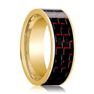 Mens Wedding Band 14K Yellow Gold with Black & Red Carbon Fiber Inlay Flat Polished Design - AydinsJewelry