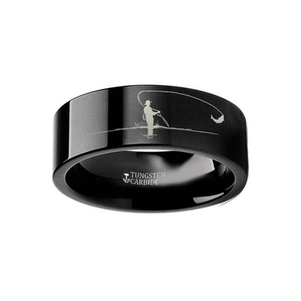 Hunting Landscape Scene - Fly Fishing Fishermen Fish Ring - Laser Engraved - Flat Tungsten Ring - 4mm - 6mm - 8mm - 10mm - 12mm - AydinsJewelry