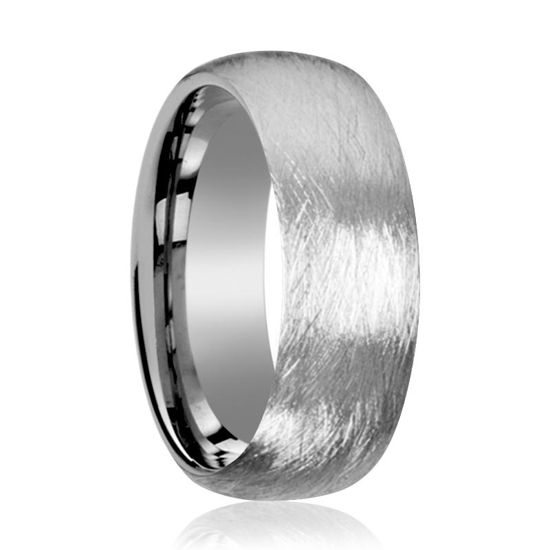 Deep Texture Brushed Finish Men's Tungsten Wedding Band With Domed Edges - 6MM - 8MM - Rings - Aydins_Jewelry