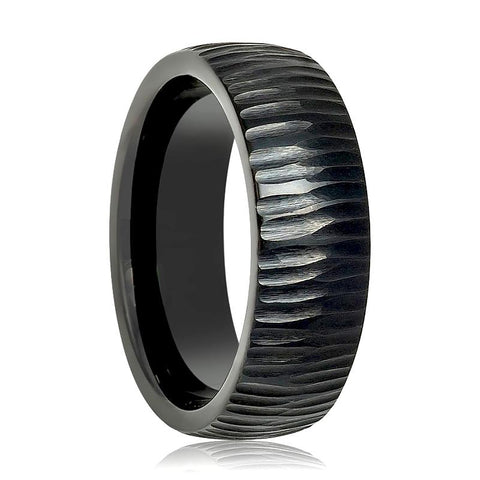 Image of Aydins Tungsten Mens Ring Black Tree Bark Carved Textured Finish Tungsten Carbide Wedding Band - Rings - Aydins_Jewelry