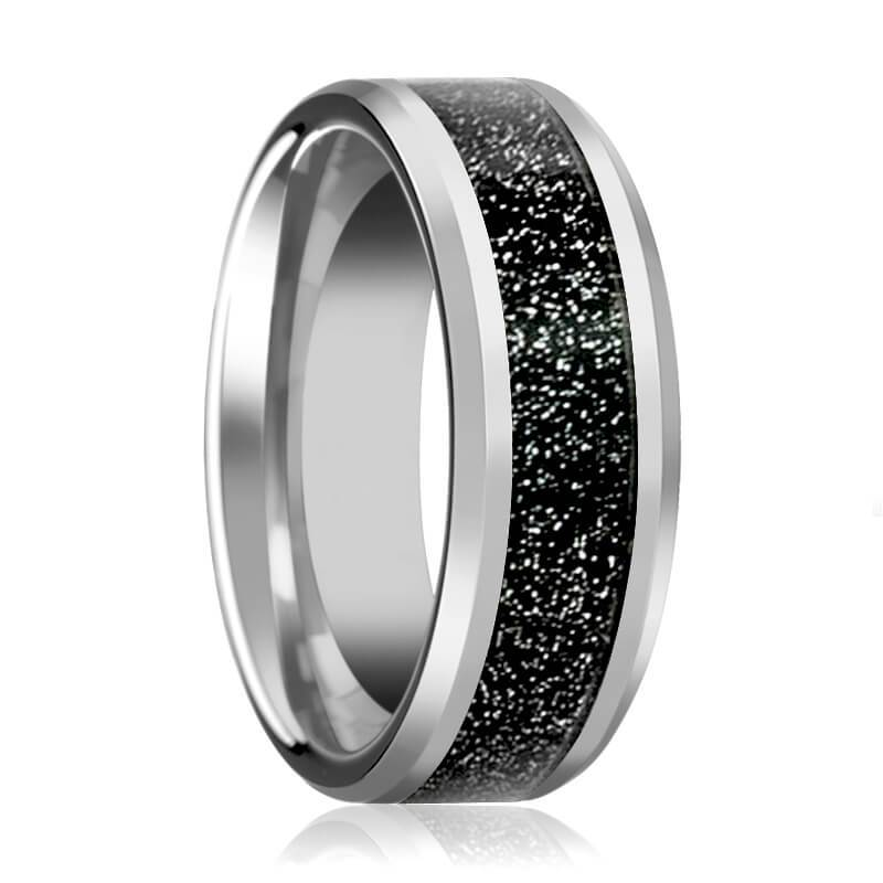 Aydins Mens Tungsten Wedding Band w/ Black Sandstone Carbon Fiber Inlay Beveled Edges 8mm Tungsten Carbide Ring - Rings - Aydins_Jewelry