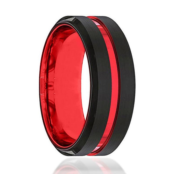 Black And Red Tungsten - Mens Wedding Band - Tungsten Ring - Scarlet Red - Beveled Edge - Tungsten Wedding Band - AydinsJewelry
