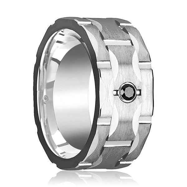 RAMA Wide Grooved Black Diamond Tungsten Wedding Ring