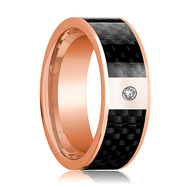 Mens Wedding Band 14K Rose Gold and Diamond with Black Carbon Fiber Inlay Flat Polished Design - AydinsJewelry