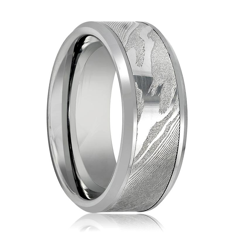 Aydins Tungsten Band Laser Engraved Wood Grain Pattern w/ Mokume Game Effect 9mm Tungsten Carbide - Rings - Aydins_Jewelry