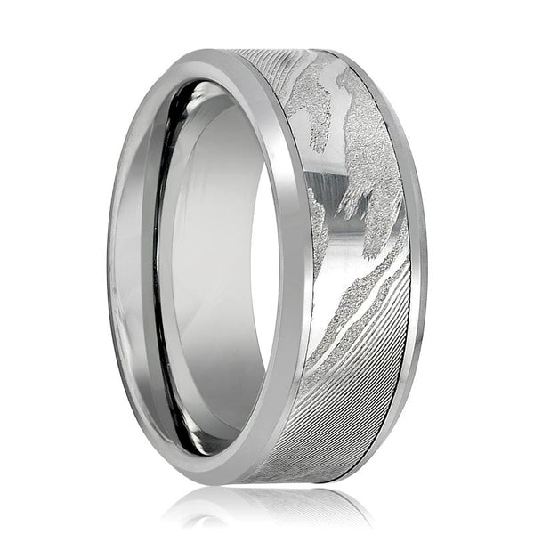 Aydins Tungsten Band Laser Engraved Wood Grain Pattern w/ Mokume Game Effect 9mm Tungsten Carbide - AydinsJewelry