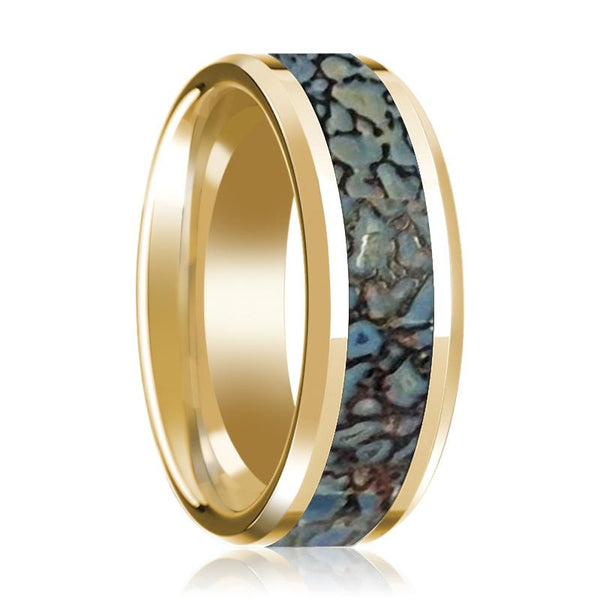 Blue Dinosaur Bone Inlay Beveled Edges Polished 14K Yellow Gold 8mm Wedding Ring - AydinsJewelry