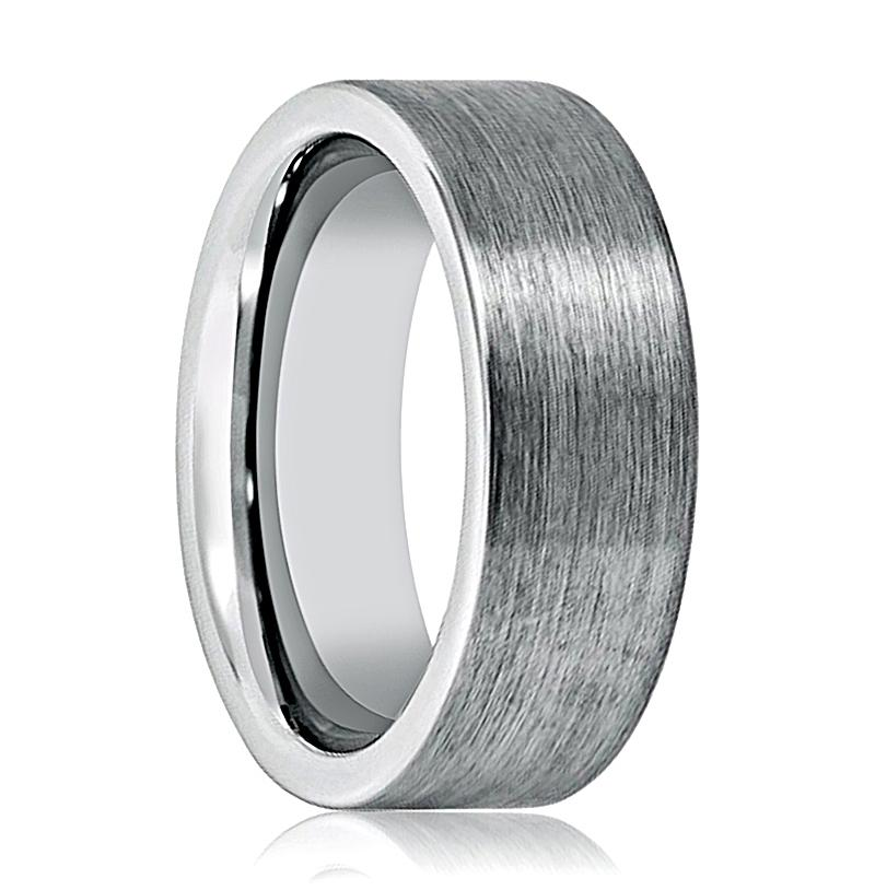 Aydins Tungsten Carbide Wedding Band Brushed Pipe Cut 8mm Tungsten Mens Ring - Rings - Aydins_Jewelry