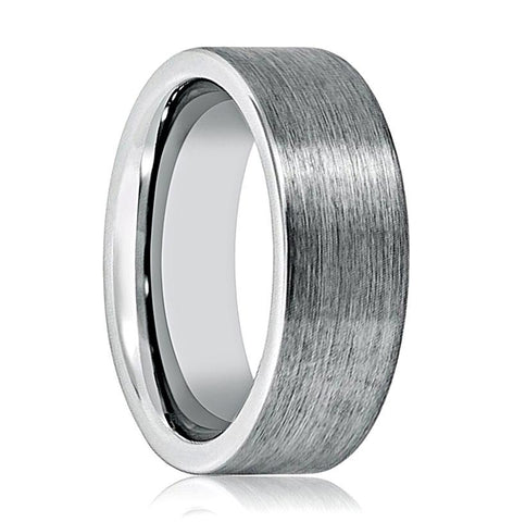 Image of Aydins Tungsten Carbide Wedding Band Brushed Pipe Cut 8mm Tungsten Mens Ring - Rings - Aydins_Jewelry