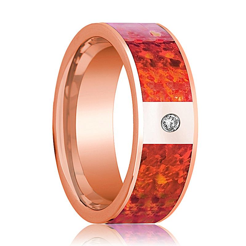 Mens Wedding Band 14K Rose Gold with Red Opal Inlay and Diamond Flat Polished Design - AydinsJewelry