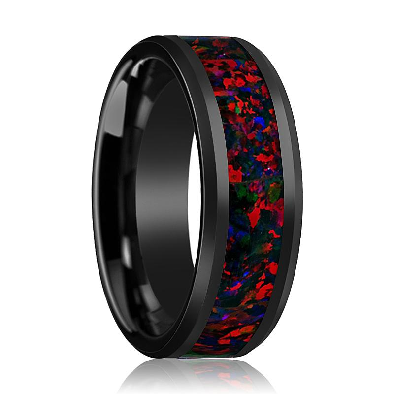 Black Ceramic Ring - Black Opal Inlay - Ceramic Wedding Band - Beveled - Polished Finish - 8mm - Ceramic Wedding Ring - AydinsJewelry