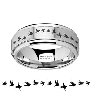 Flying Birds Engraved Raised Center Spinner Tungsten Wedding Ring for Men - 8MM - Rings - Aydins_Jewelry