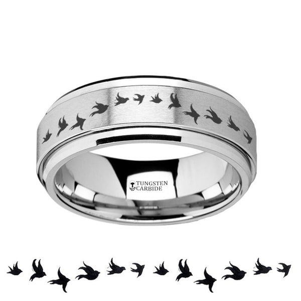 Flying Birds  Engraved - Spinning Tungsten Ring - Laser Engraved - Tungsten Carbide Wedding Band - 8mm - AydinsJewelry