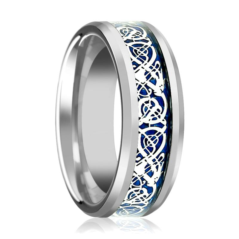 Beveled Tungsten Wedding Ring with Blue Celtic Dragon Inlay Polished Finish - Rings - Aydins_Jewelry