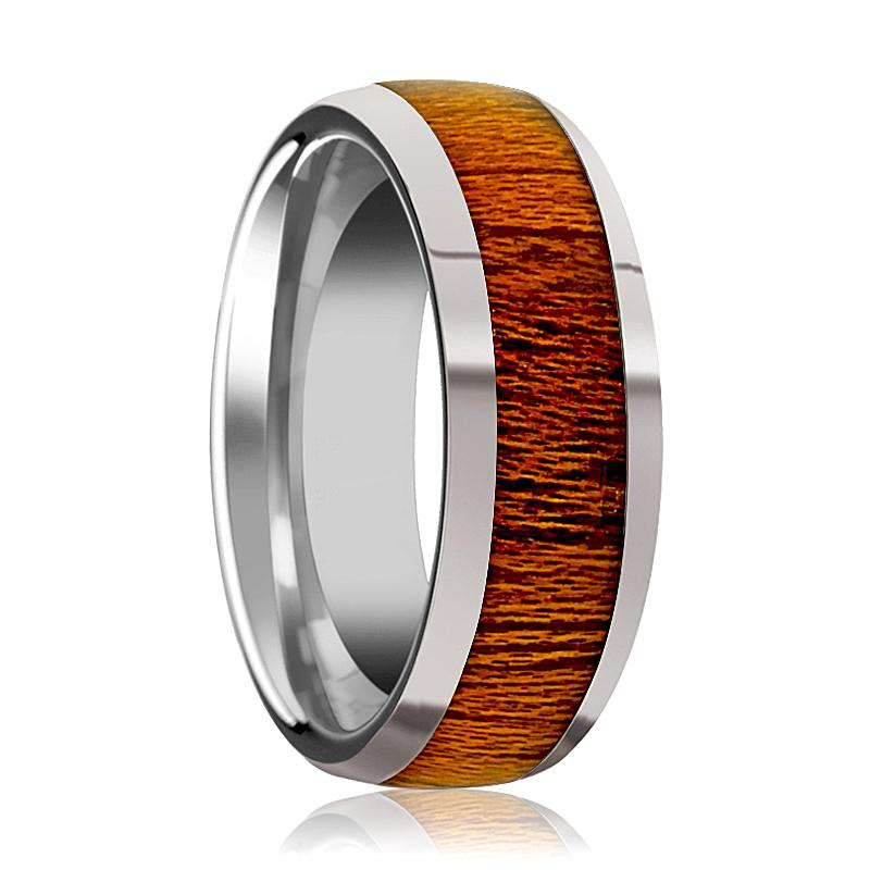 Domed Polished Men's Tungsten Wedding Band with Mahogany Wood Inlay Polished Finish - 8MM - Rings - Aydins_Jewelry