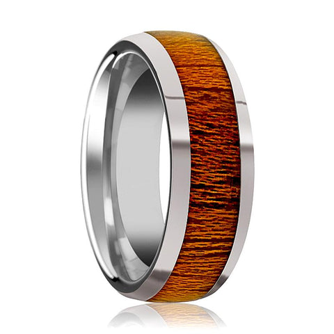 Image of Domed Polished Men's Tungsten Wedding Band with Mahogany Wood Inlay Polished Finish - 8MM - Rings - Aydins_Jewelry
