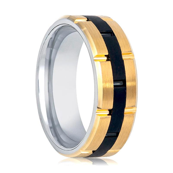 Aydins Gold & Black Tungsten Mens Wedding Band Black Grooved Center 8mm Tungsten Wedding Ring - AydinsJewelry