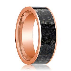 BARYONYX Dinosaur Bone Ring Blue Flat Polished 14K Rose Gold - Rings - Aydins_Jewelry